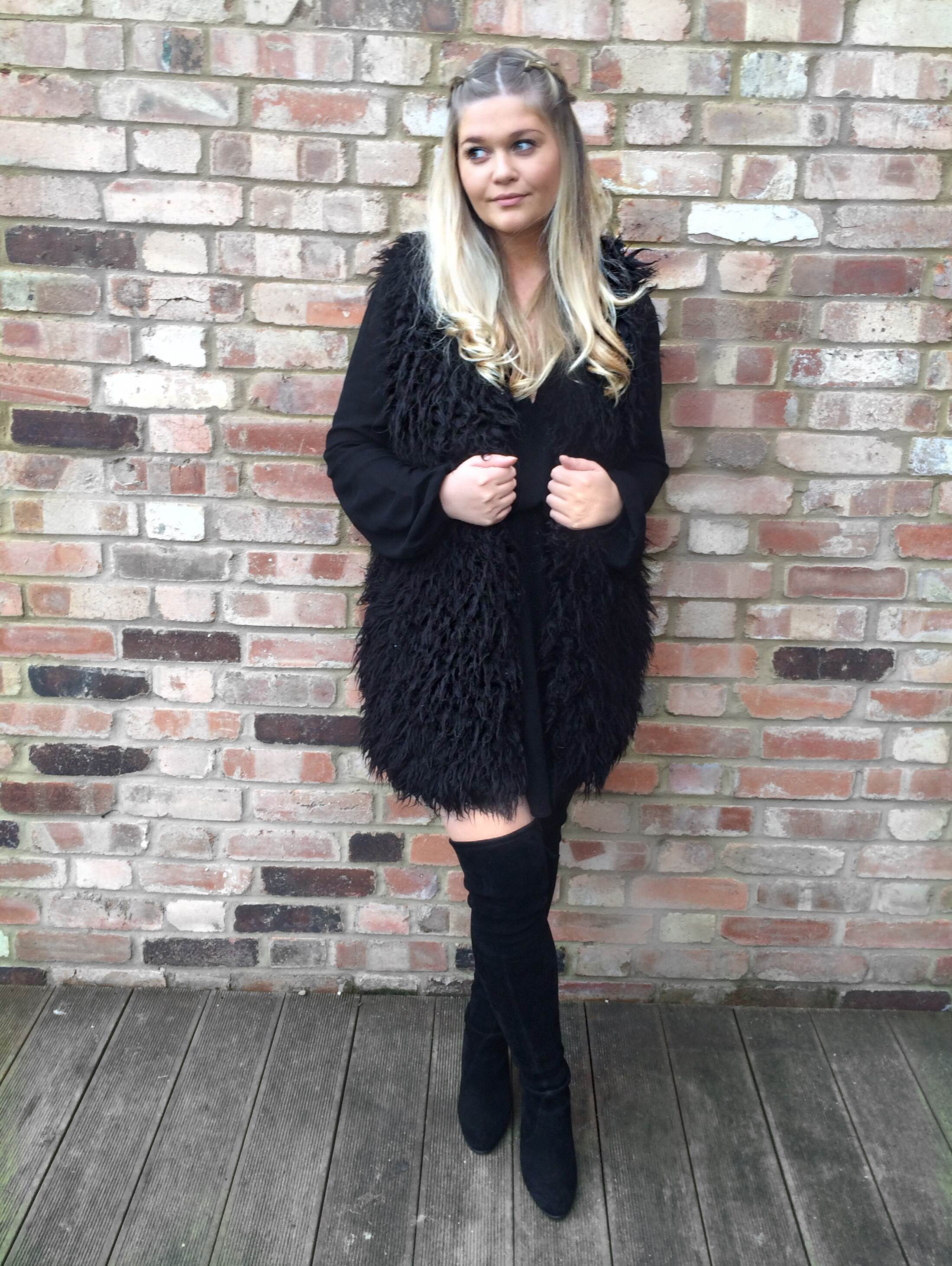 Black dress and boots date look